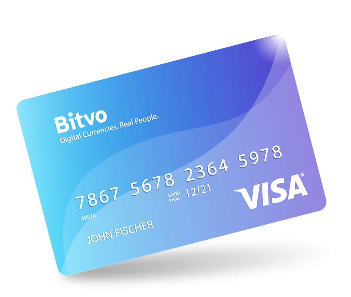 Bitvo Cash Card - a credit card offering immediate acces to your cryptocurrency funds